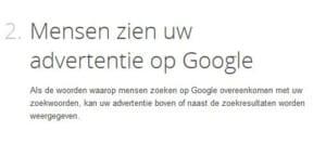 tweede stap op google adwords pagina