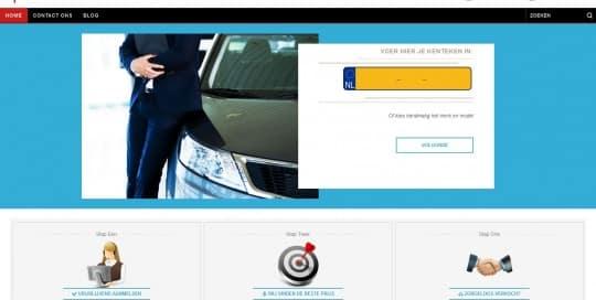 een foto van een autodealer website