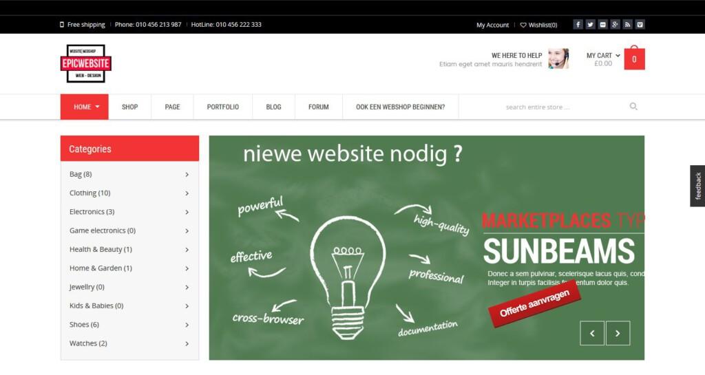 Wonder webshop van epicwebsite.nl