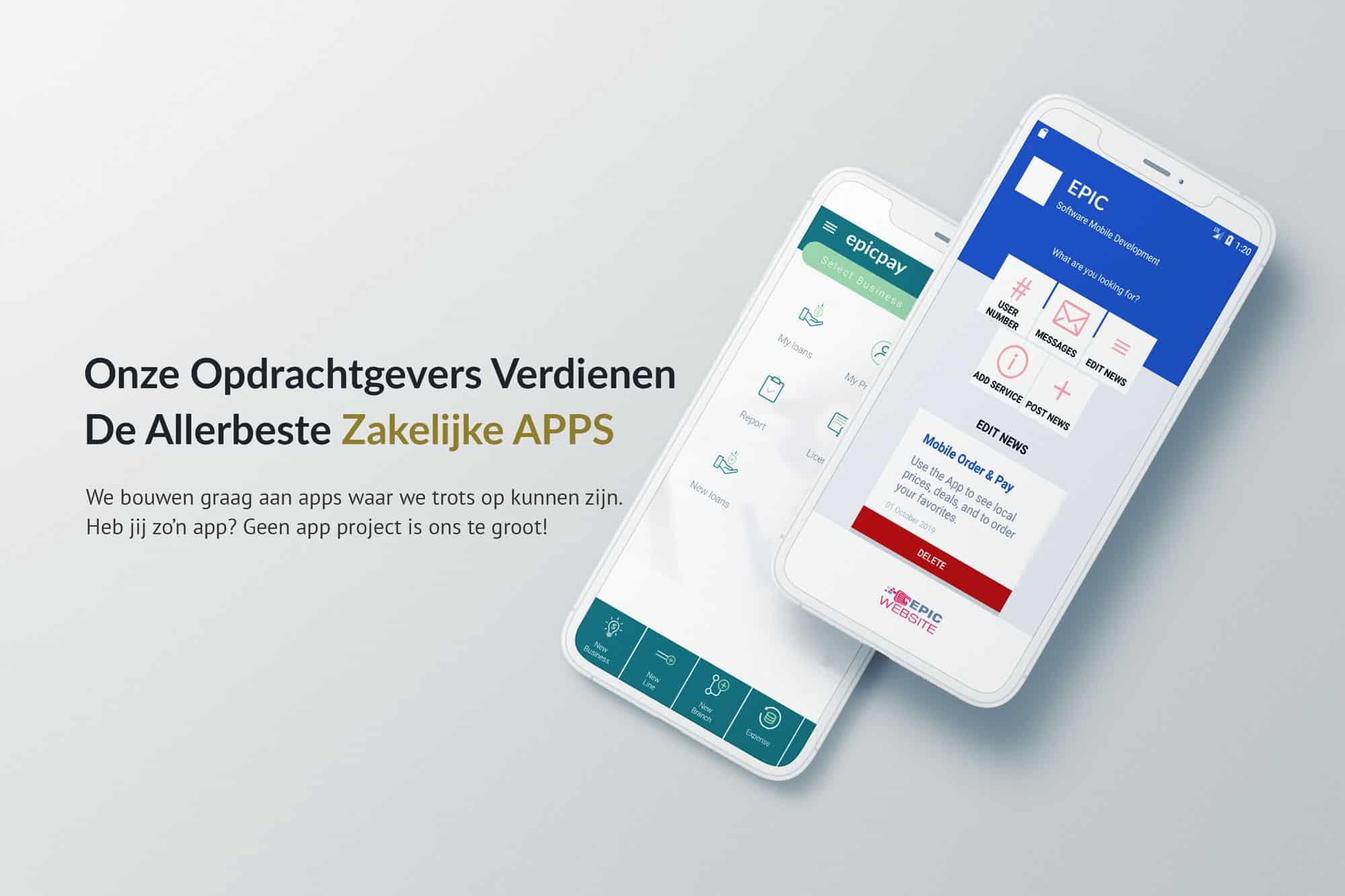 EpicWebsite Zakelijke app voorbeeld