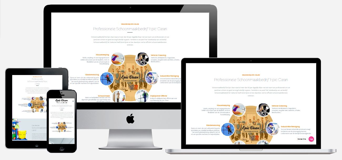 Website maken schoonmaakbedrijf epicwebsite for Goedkoop tuinontwerp laten maken