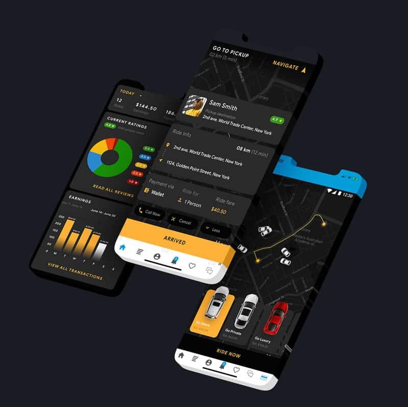 Voorbeeld taxi app van epicwebsite