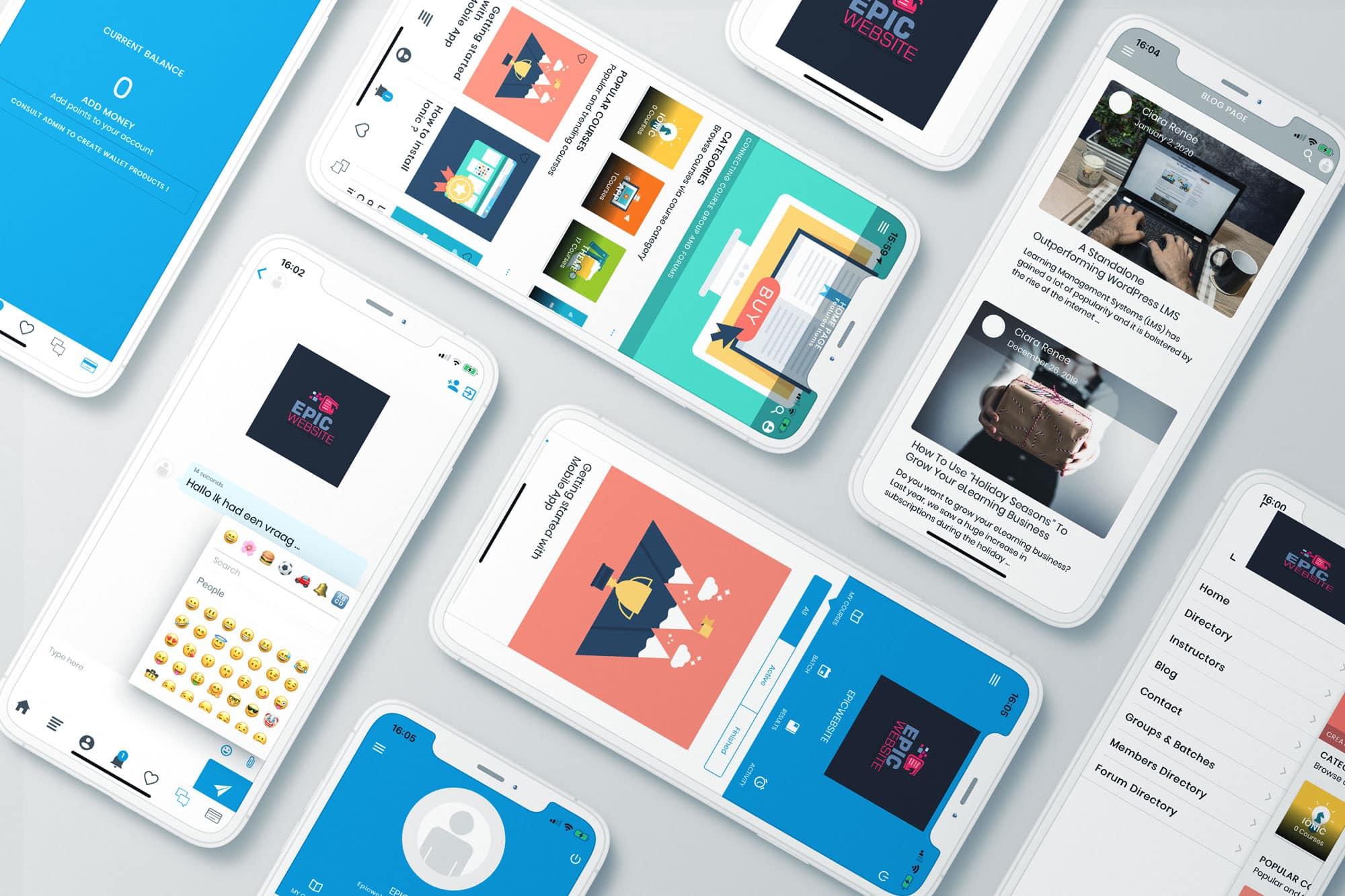 EpicWebsite online leren app header