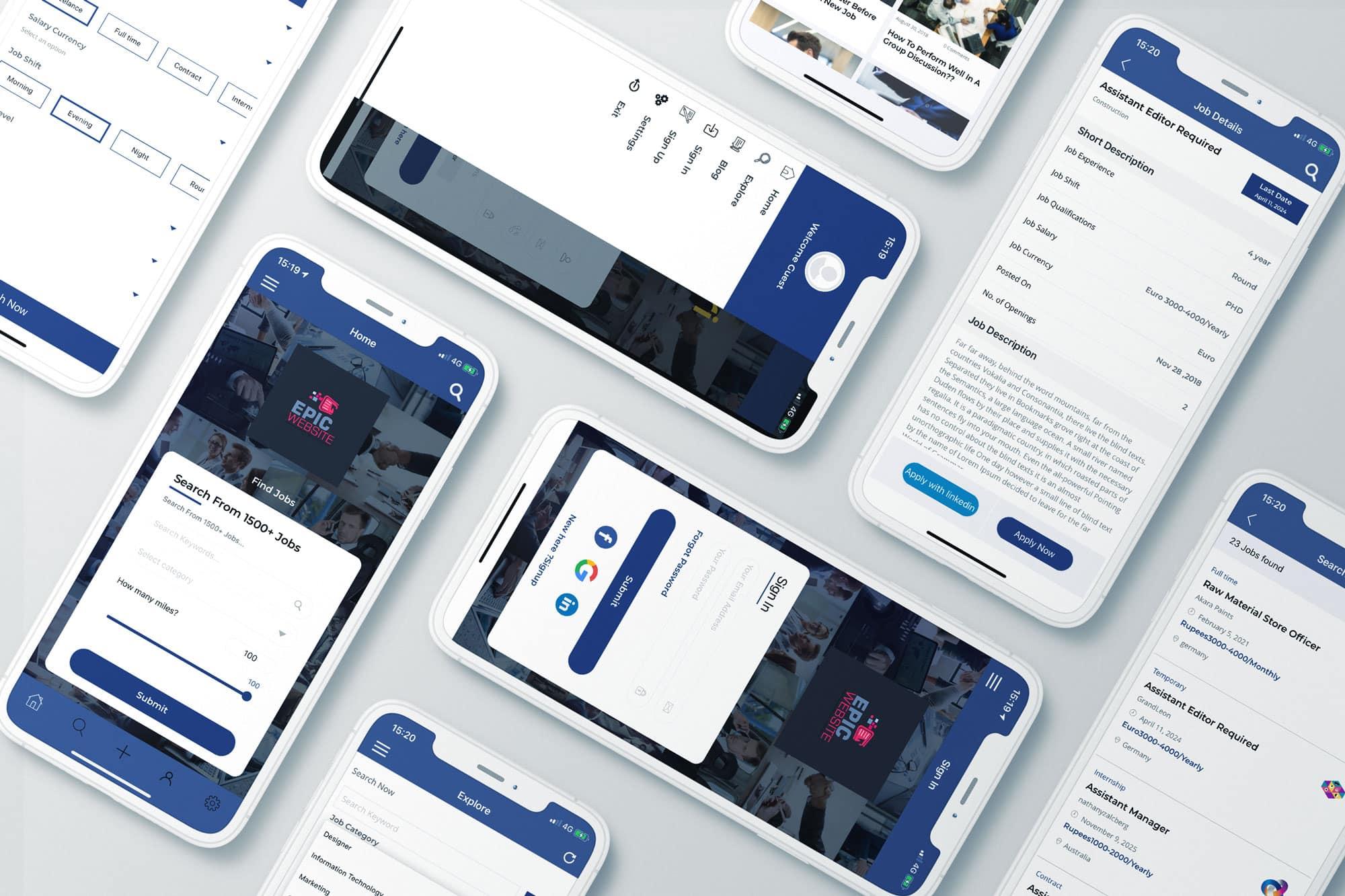 EpicWebsite uitzendbureau app header