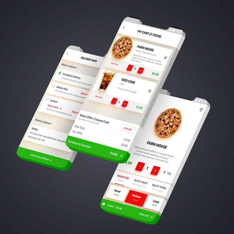 Voorbeeld van Pizza bezorging app
