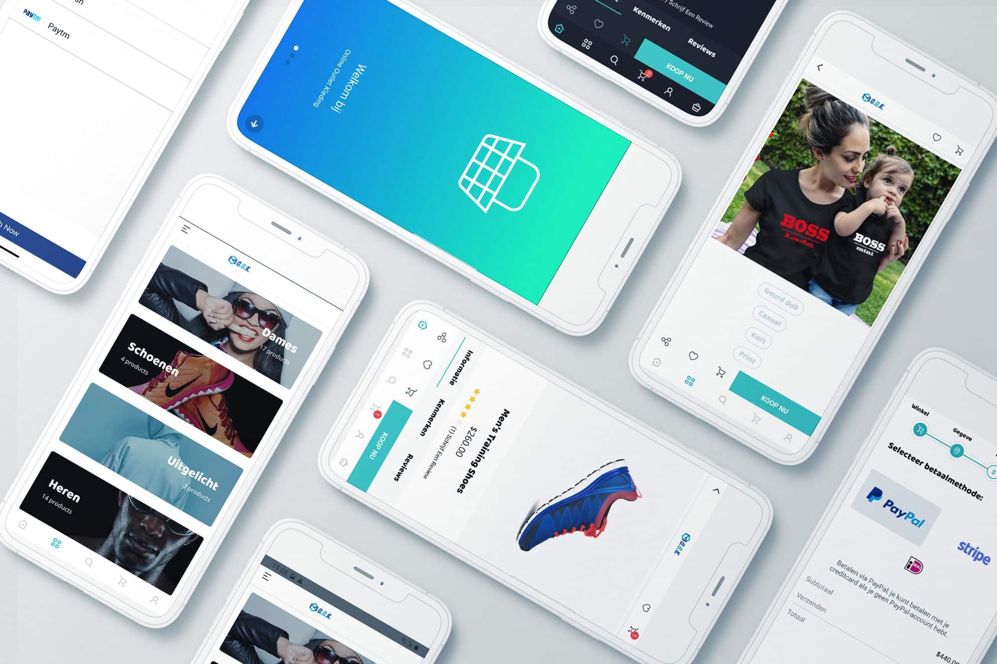 React native webshop app laten maken header