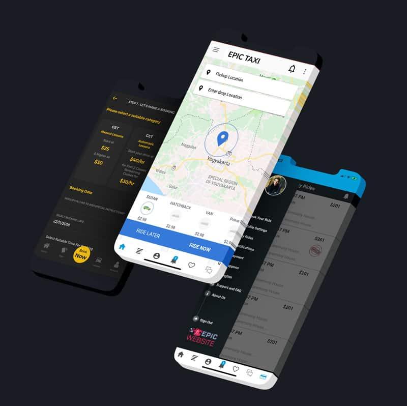 Taxi app demo van epicwebsite