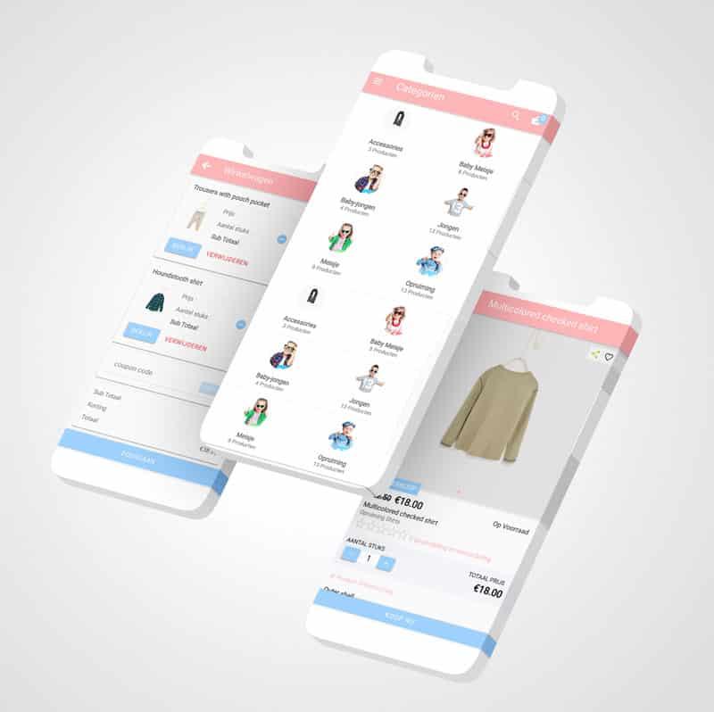 EpicWebsite ionic ecommerce app ontworpen voor kidoki