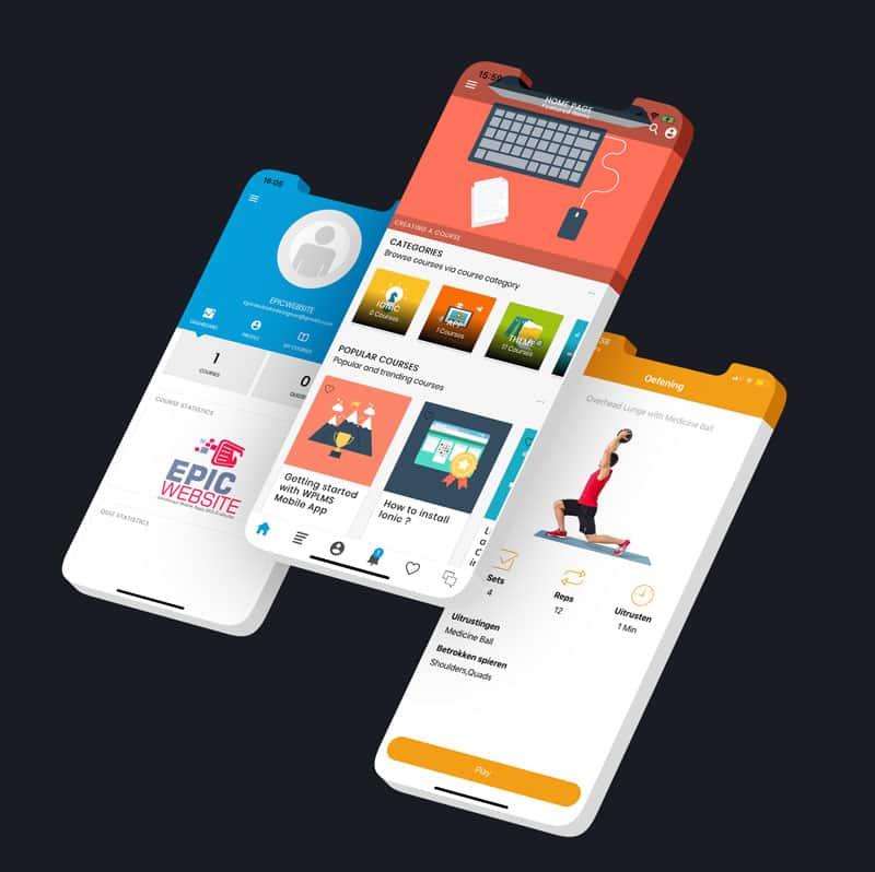 Voorbeelden van opmaat gemaakte apps van epicwebsite
